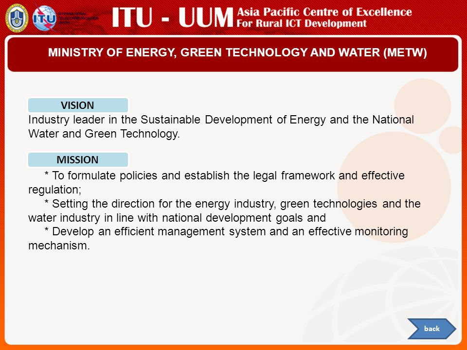 MINISTRY OF ENERGY, GREEN TECHNOLOGY AND WATER (METW)