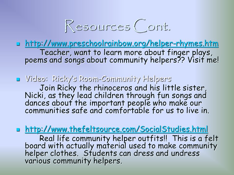 Community Helpers Resource Unit By Rachael Berkey & Jennifer