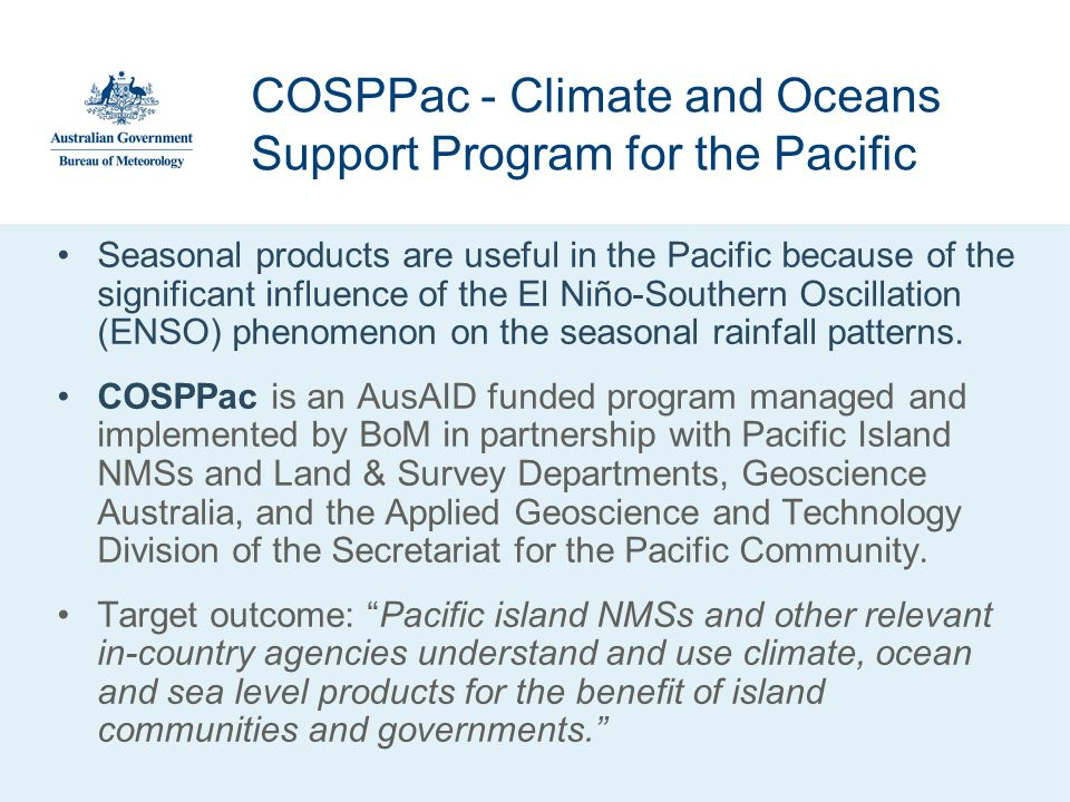 COSPPac - Climate and Oceans Support Program for the Pacific