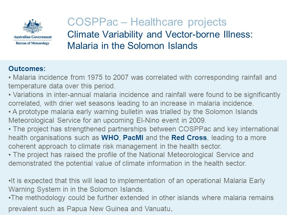 COSPPac – Healthcare projects Climate Variability and Vector-borne Illness: Malaria in the Solomon Islands