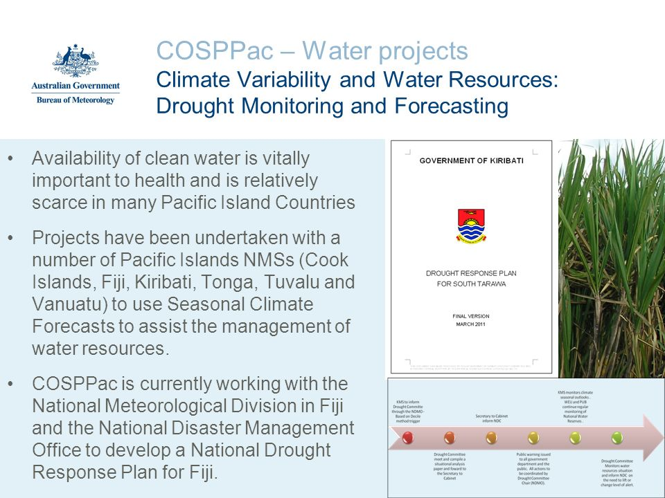 COSPPac – Water projects Climate Variability and Water Resources: Drought Monitoring and Forecasting