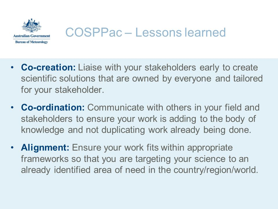 COSPPac – Lessons learned