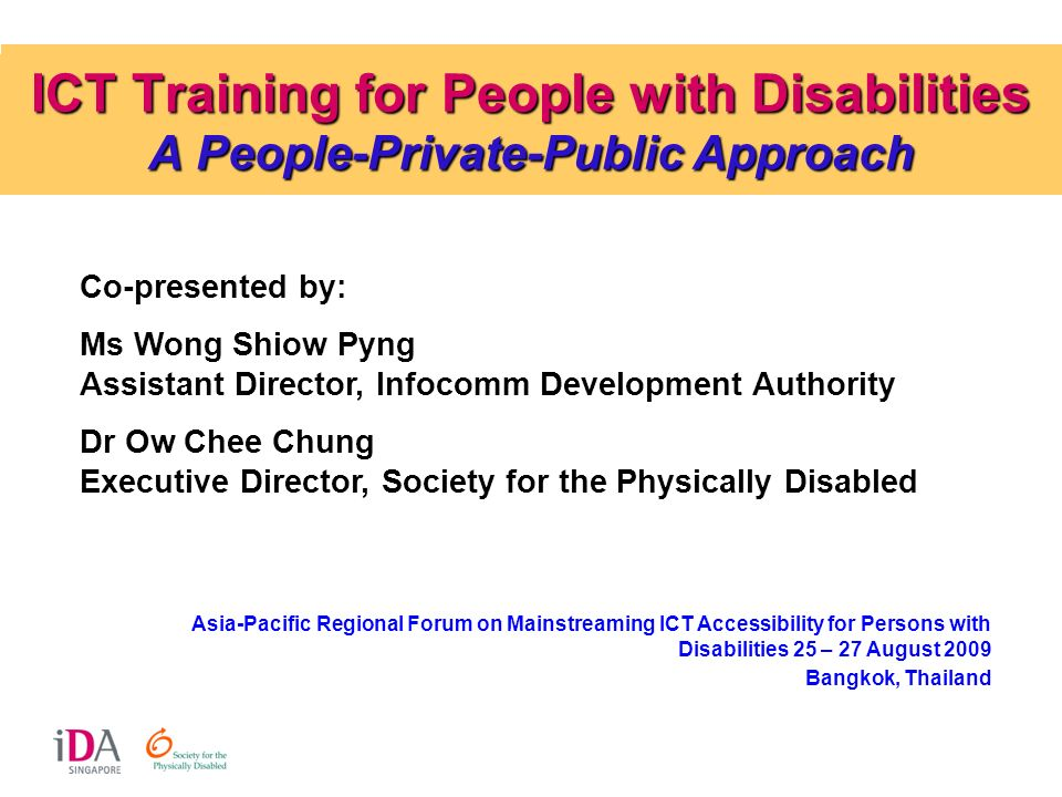 ICT Training for People with Disabilities A People-Private-Public Approach