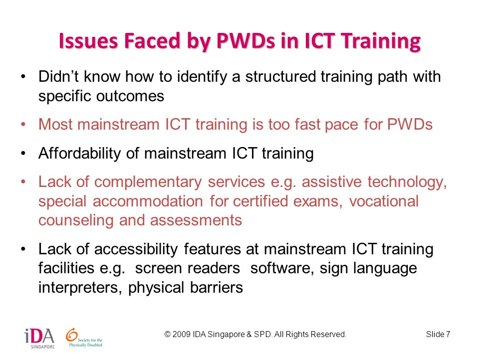 Issues Faced by PWDs in ICT Training