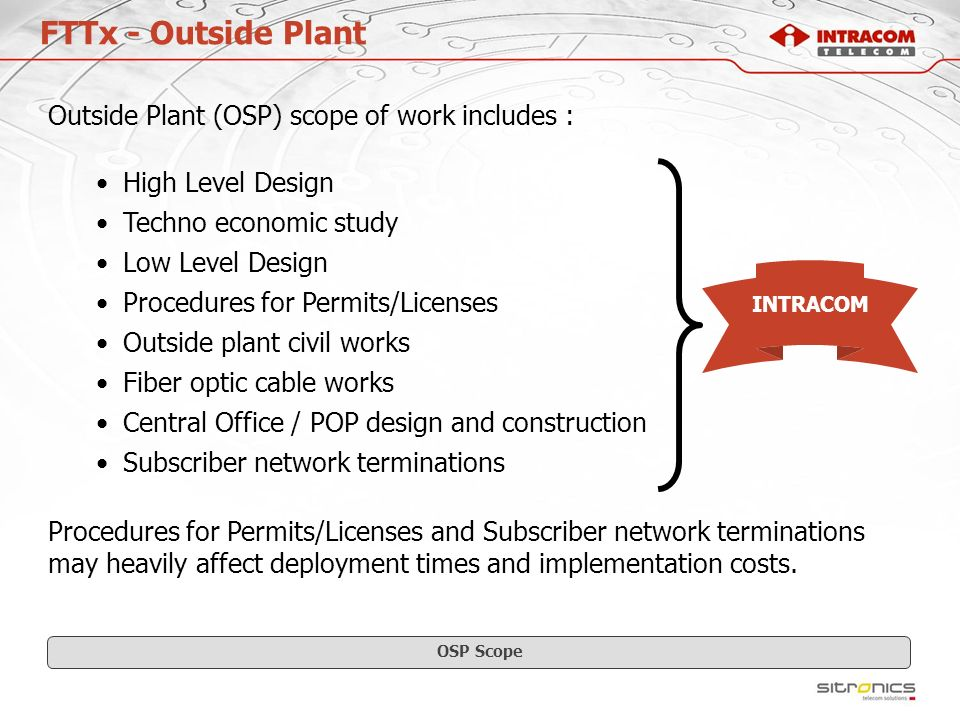 FTTx - Outside Plant Outside Plant (OSP) scope of work includes :