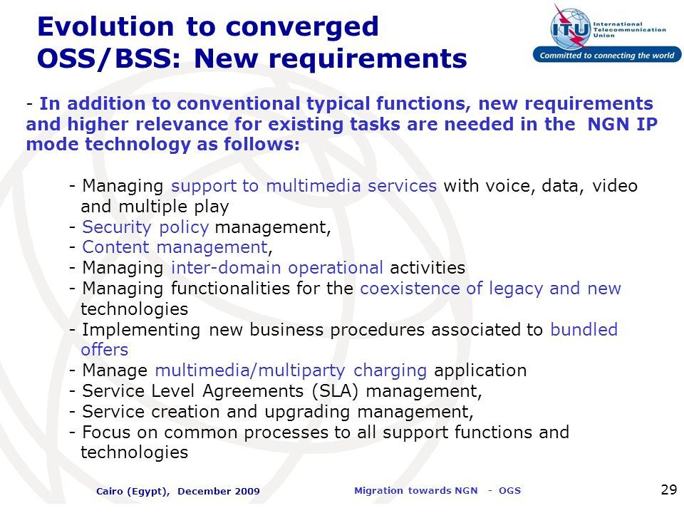 Evolution to converged OSS/BSS: New requirements