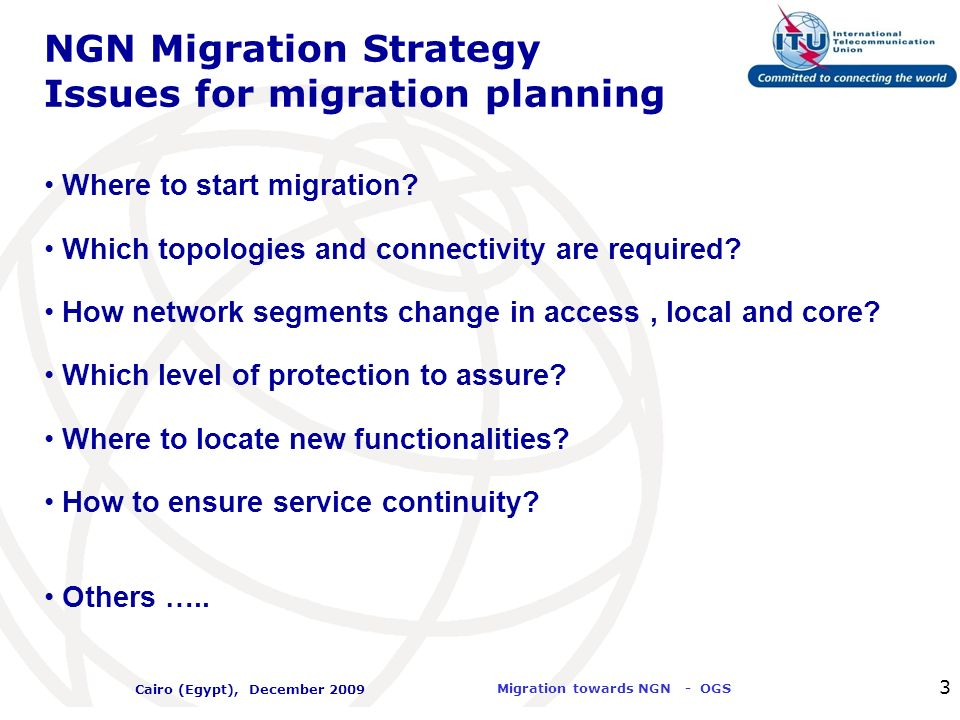 NGN Migration Strategy Issues for migration planning