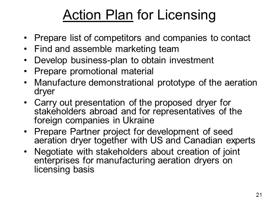 Action Plan for Licensing
