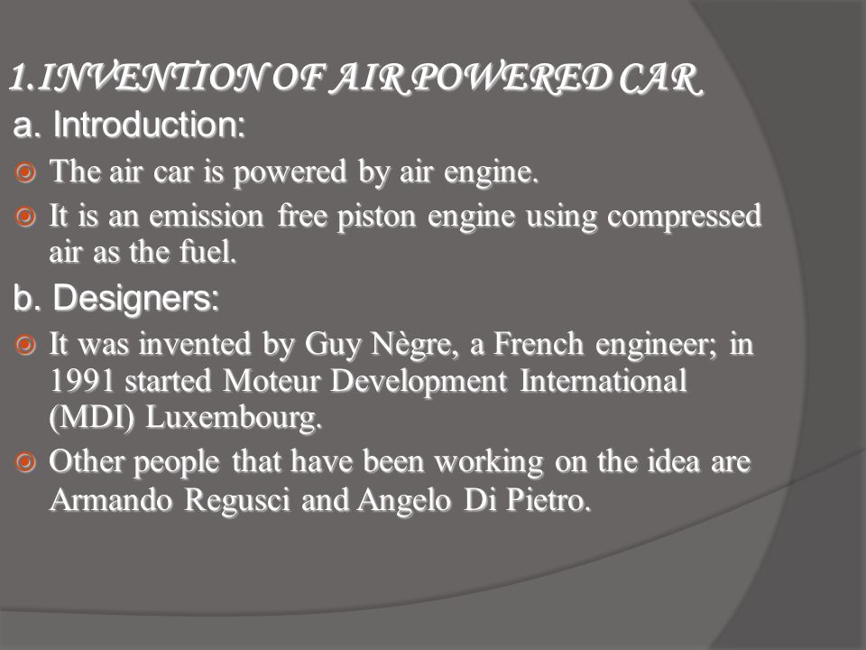 AIR POWERED CAR. - ppt video online download