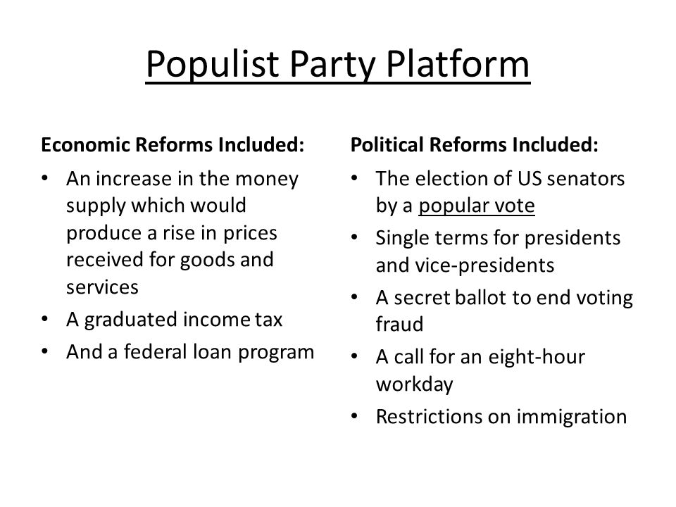 the populist party and the farmer reform Populism political cartoons populists' major complaint was that politicians and wall street held the farmers' alliance became a valuable way- station between a voter's old party and populism political reform and targeted railroad rates n munn v illinois gave state legislatures the right to.