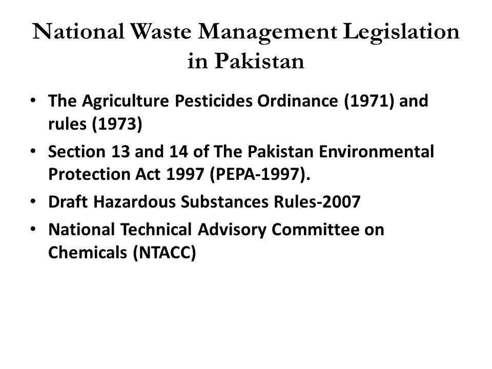 National Waste Management Legislation in Pakistan