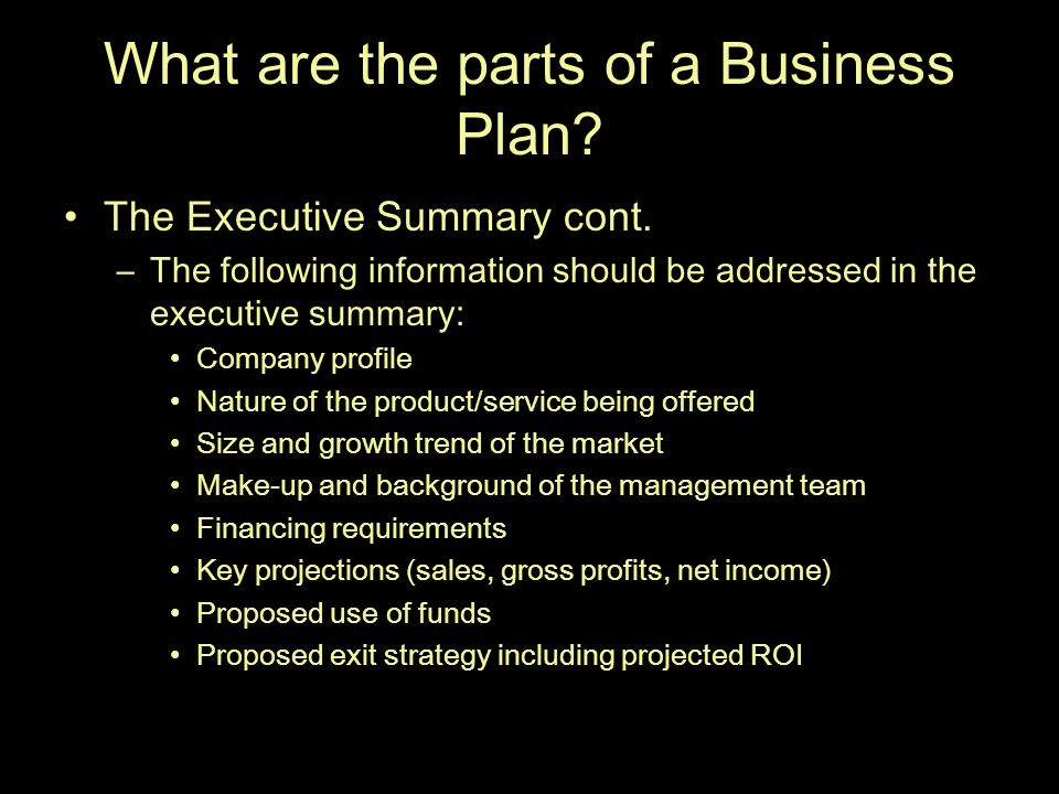 part of business plan