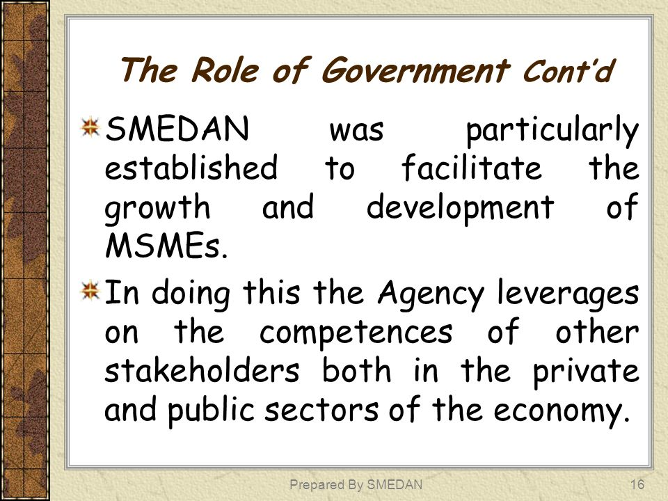 The Role of Government Cont'd