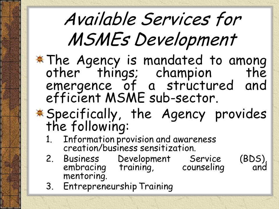 Available Services for MSMEs Development
