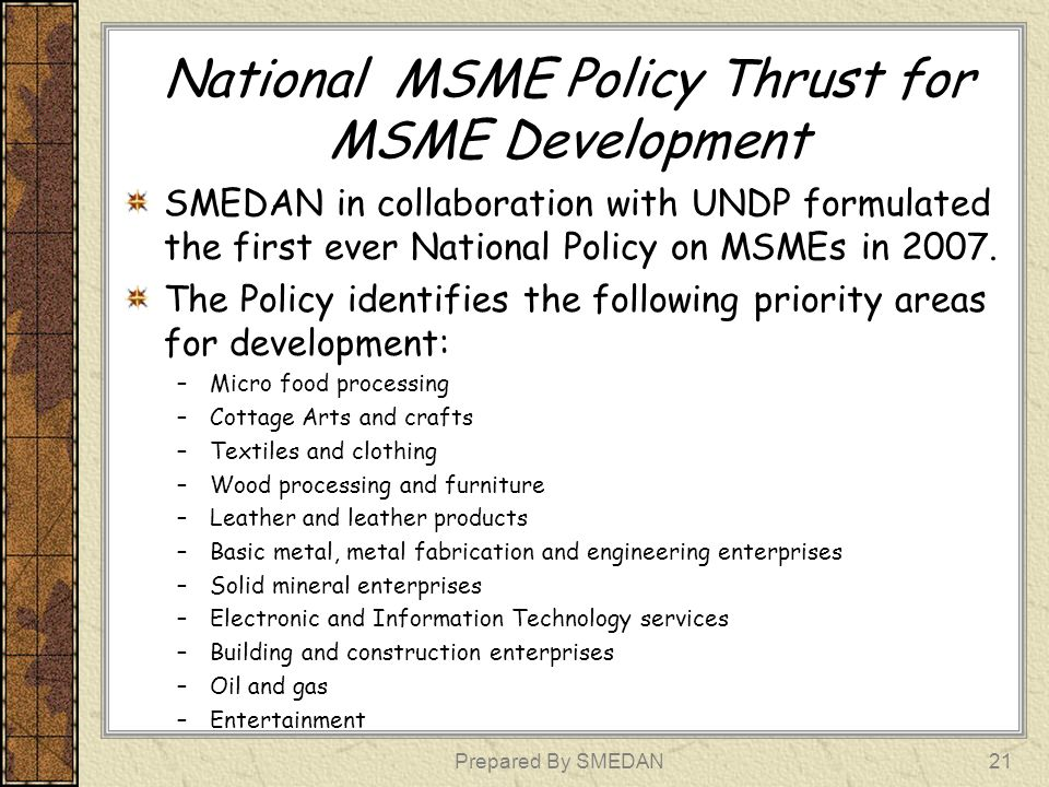 National MSME Policy Thrust for MSME Development