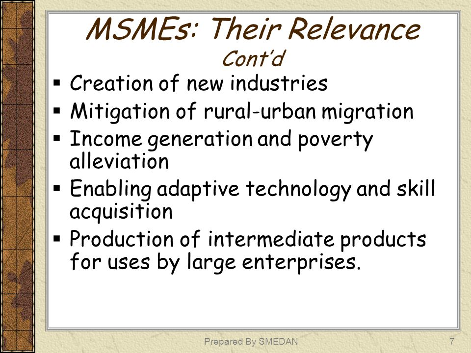 MSMEs: Their Relevance Cont'd