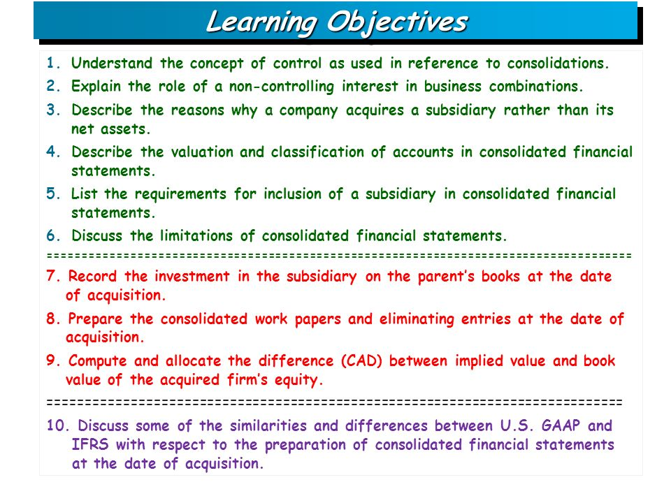 Consolidating financial statements eliminating entries in accounting