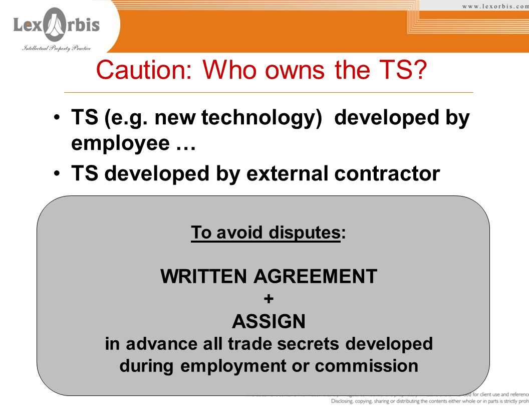 in advance all trade secrets developed during employment or commission