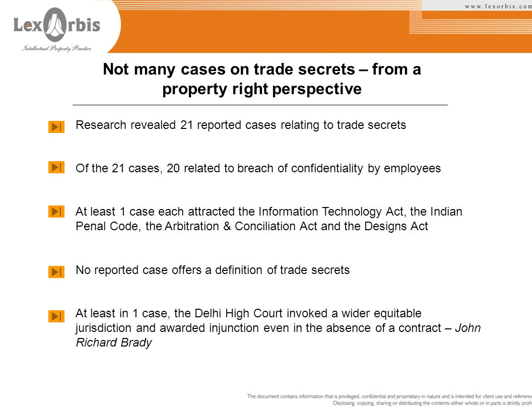 Not many cases on trade secrets – from a property right perspective