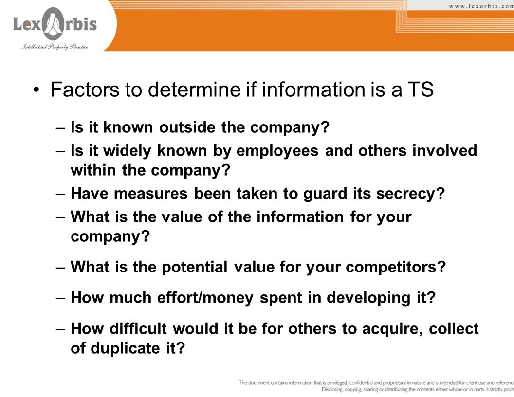 Factors to determine if information is a TS