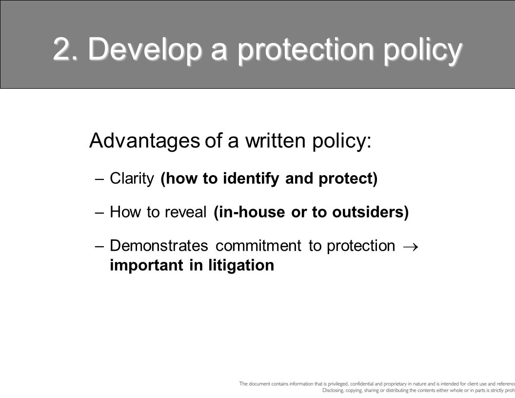 2. Develop a protection policy
