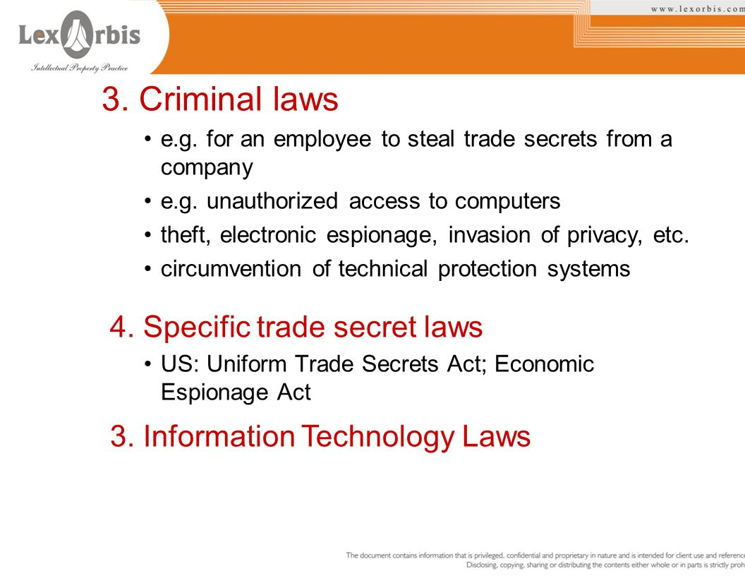 4. Specific trade secret laws