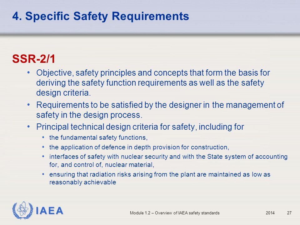 4. Specific Safety Requirements