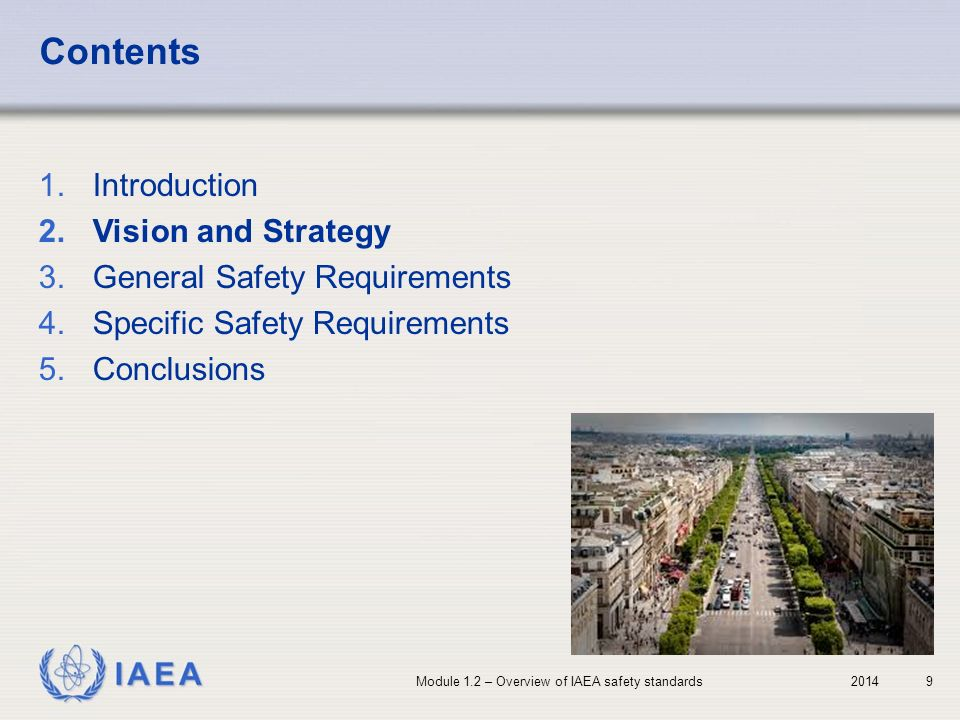 Contents Introduction Vision and Strategy General Safety Requirements