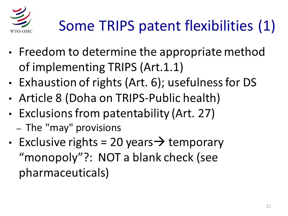 Some TRIPS patent flexibilities (1)
