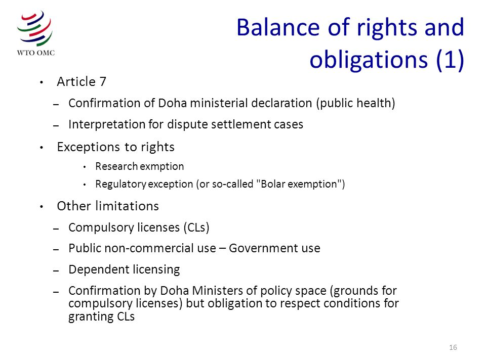 Balance of rights and obligations (1)