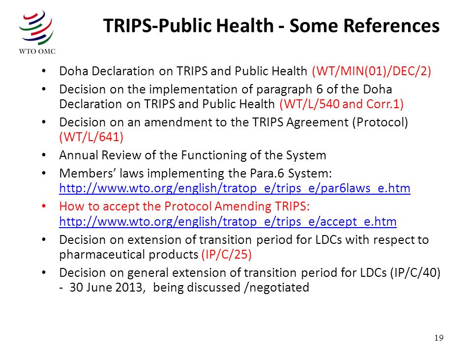 TRIPS-Public Health - Some References