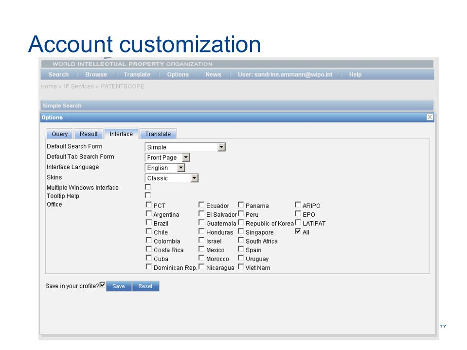 Account customization