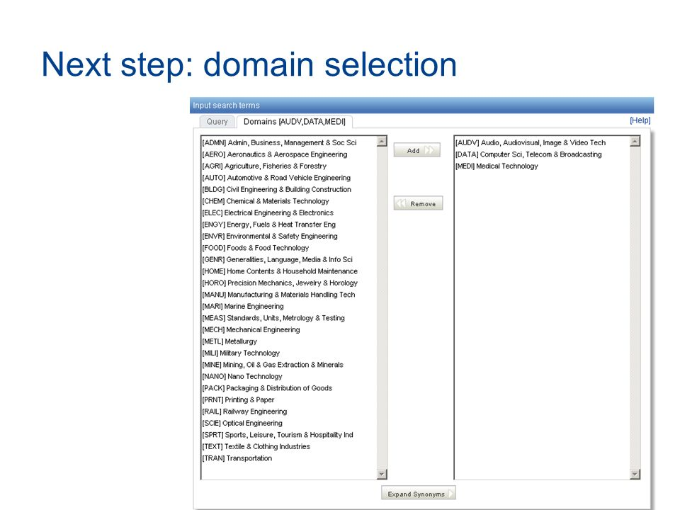Next step: domain selection