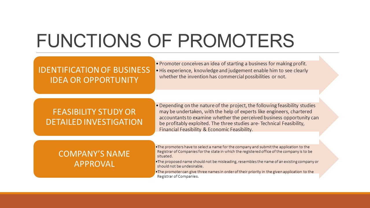 FUNCTIONS OF PROMOTERS
