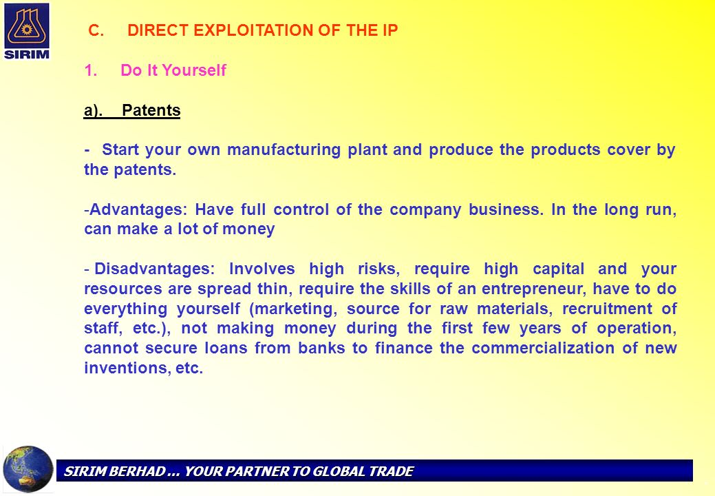 1. Do It Yourself a). Patents