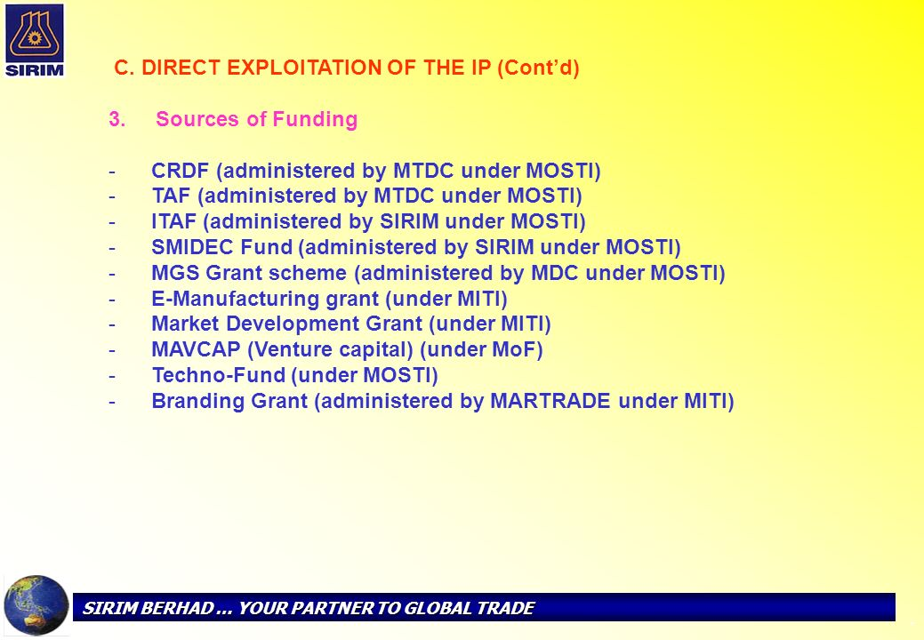 CRDF (administered by MTDC under MOSTI)