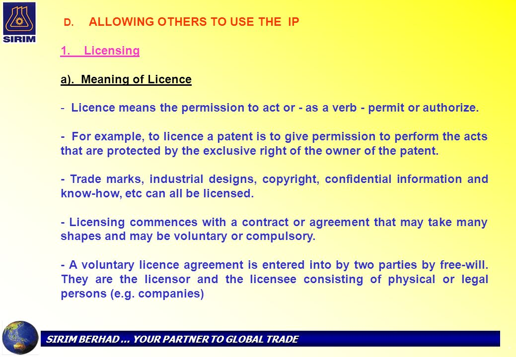 1. Licensing a). Meaning of Licence