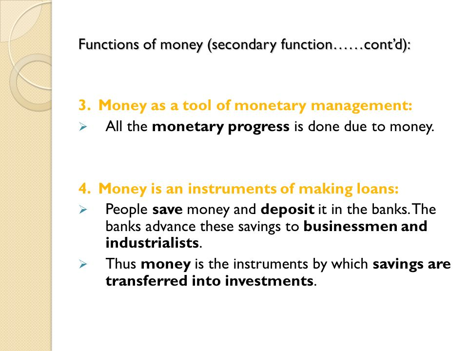 functional definition of money