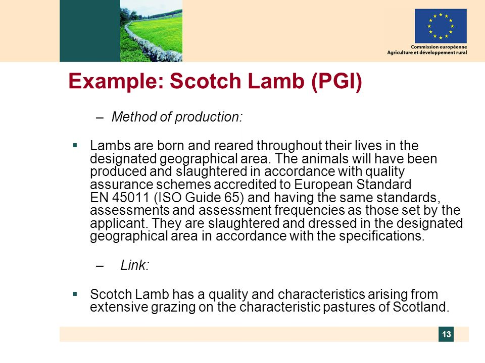 Example: Scotch Lamb (PGI)