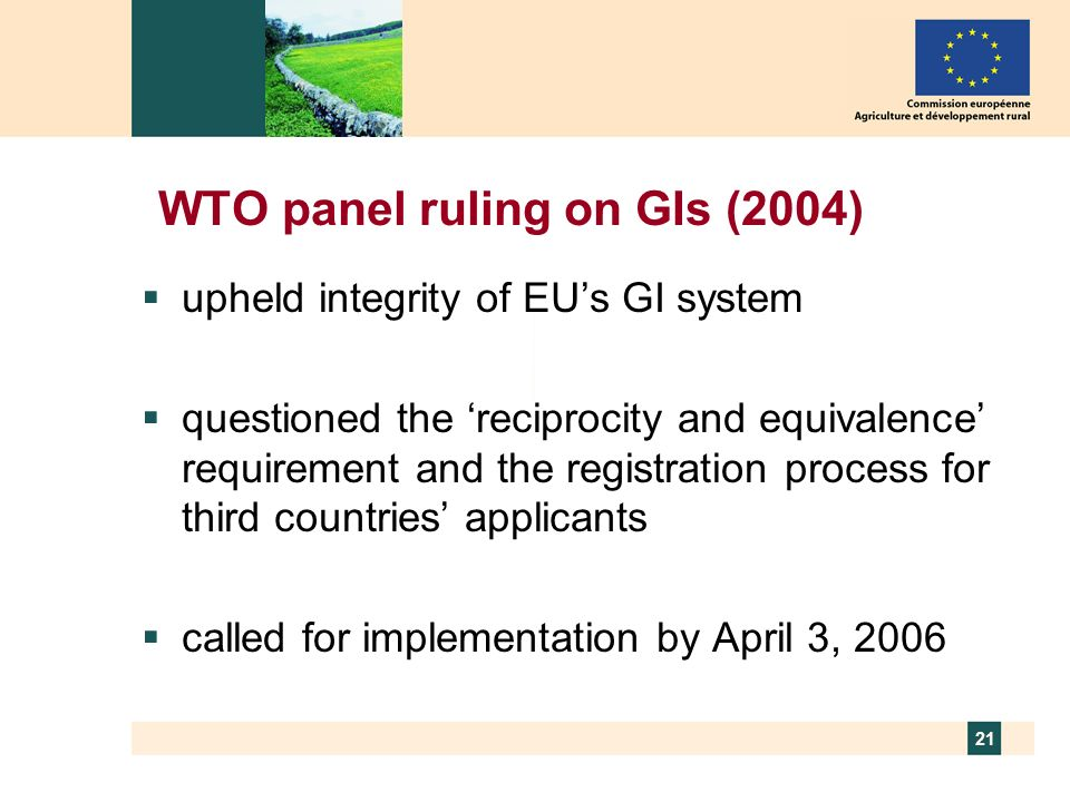 WTO panel ruling on GIs (2004)