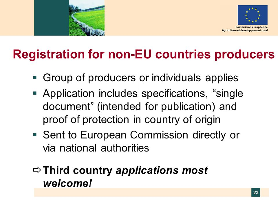 Registration for non-EU countries producers
