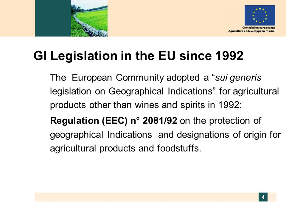 GI Legislation in the EU since 1992