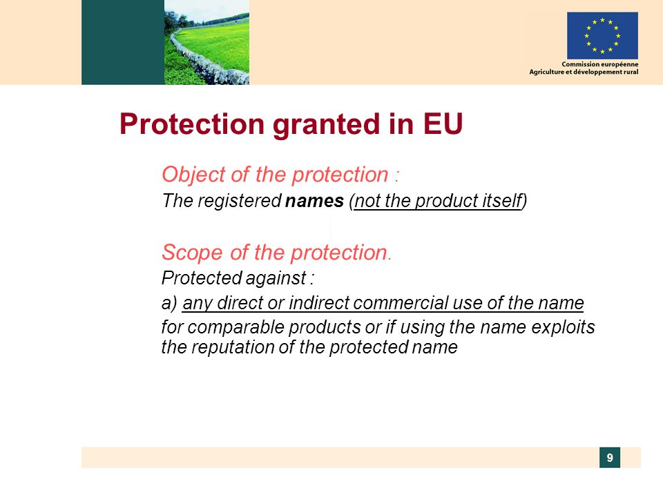 Protection granted in EU