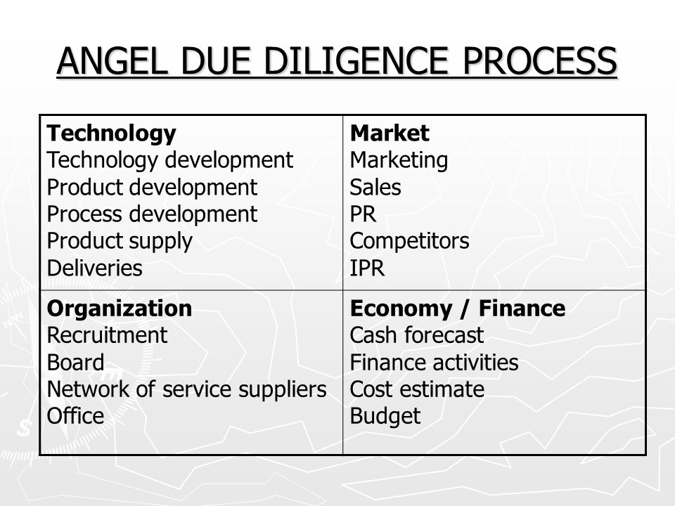 ANGEL DUE DILIGENCE PROCESS
