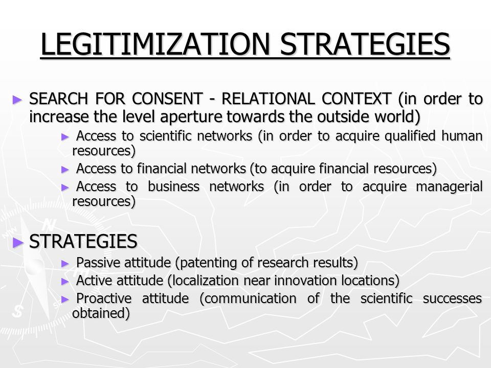 LEGITIMIZATION STRATEGIES
