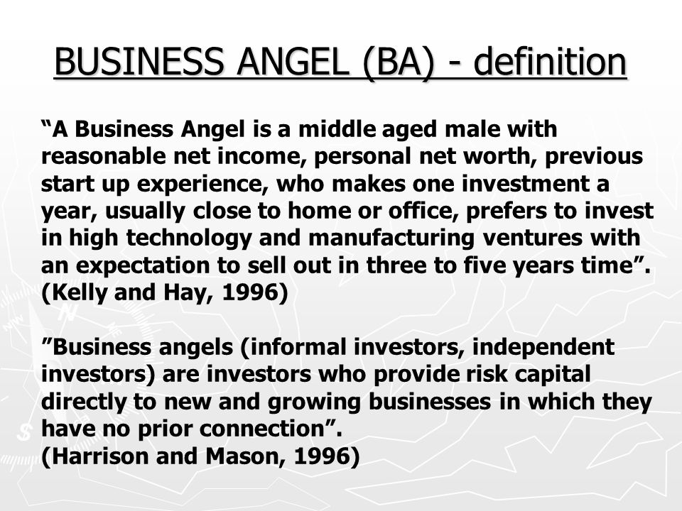 BUSINESS ANGEL (BA) - definition