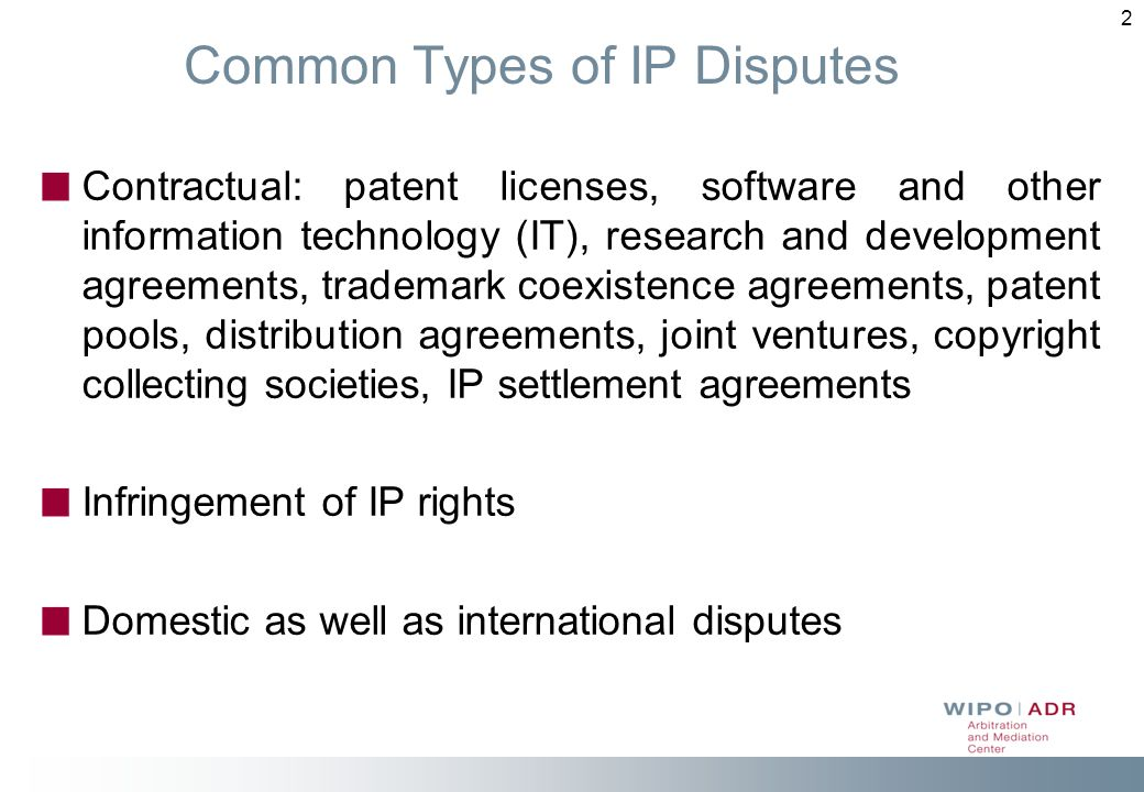 Alternative Dispute Wipos Arbitration And Mediation Center Ppt