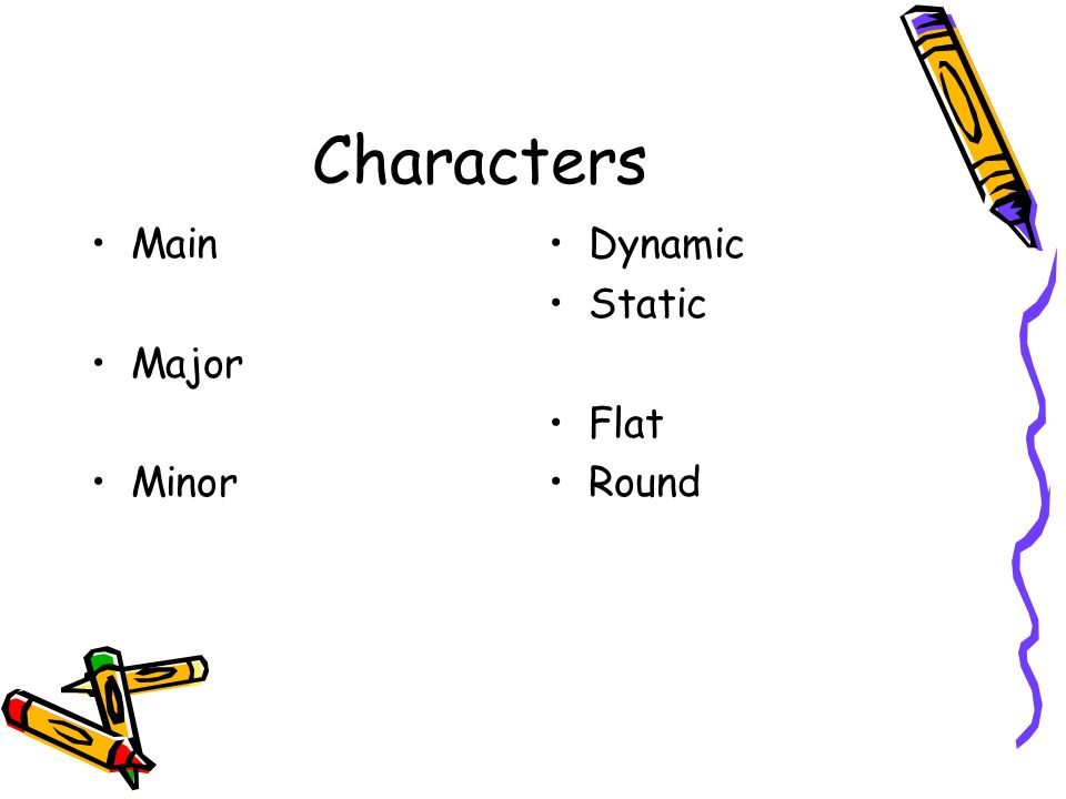 Characters Main Major Minor Dynamic Static Flat Round
