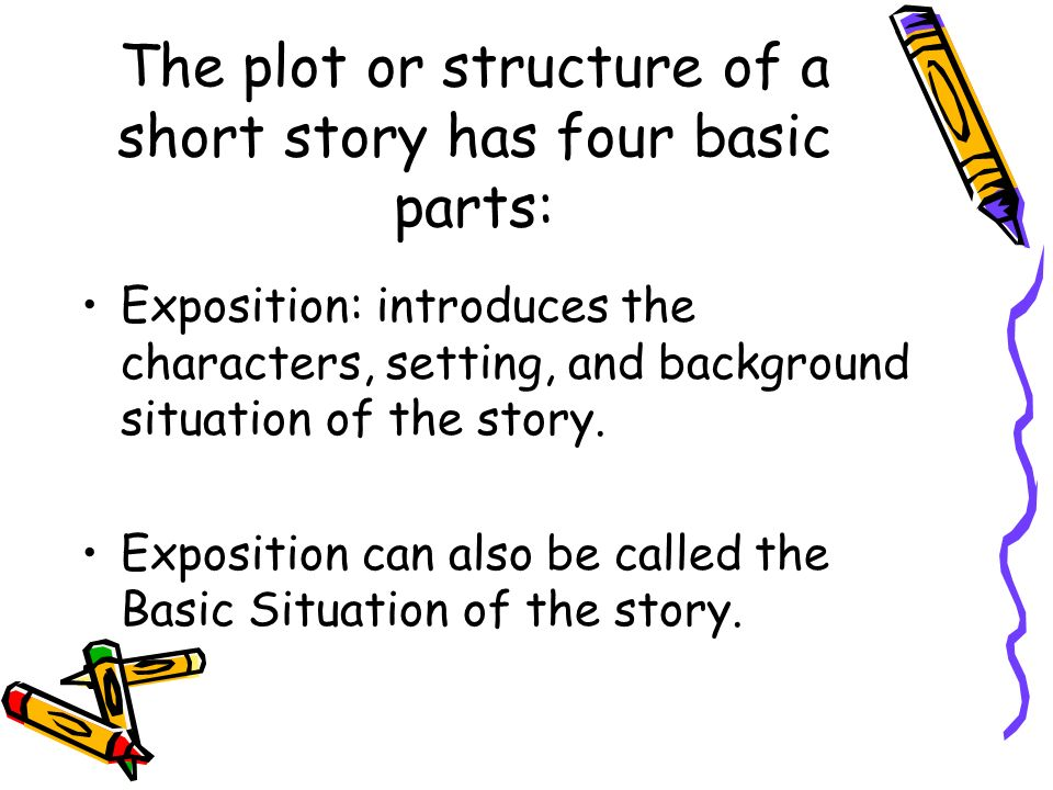 The plot or structure of a short story has four basic parts: