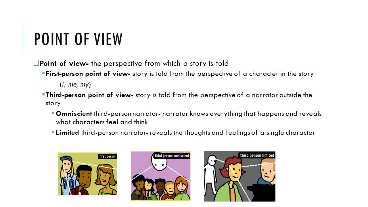 Point of view Point of view- the perspective from which a story is told.